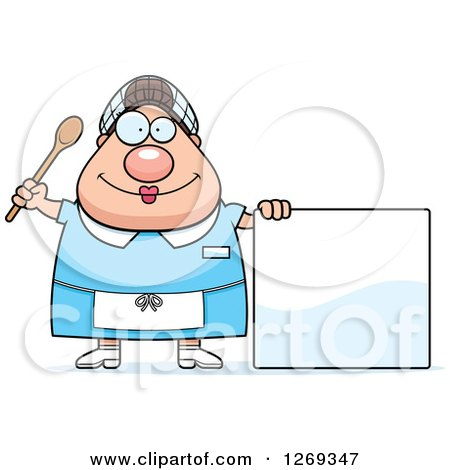 Clipart of a Cartoon Chubby Happy Caucasian Lunch Lady by a Blank Sign - Royalty Free Vector Illustration by Cory Thoman