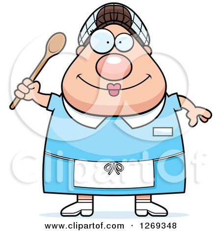 Clipart of a Cartoon Chubby Happy Caucasian Lunch Lady - Royalty Free Vector Illustration by Cory Thoman