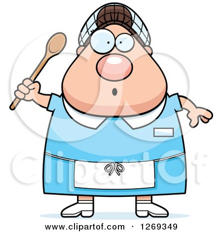 Clipart of a Cartoon Chubby Surprised Caucasian Lunch Lady Holding a Spoon - Royalty Free Vector Illustration by Cory Thoman