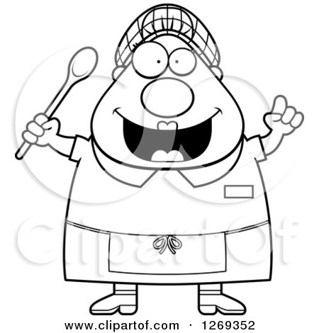 Clipart of a Black and White Cartoon Chubby Creative Lunch Lady with an Idea - Royalty Free Vector Illustration by Cory Thoman