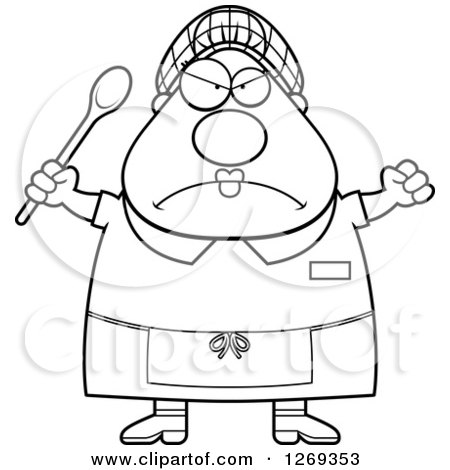 Clipart of a Black and White Cartoon Chubby Mad Lunch Lady Holding up a Fist and Spoon - Royalty Free Vector Illustration by Cory Thoman