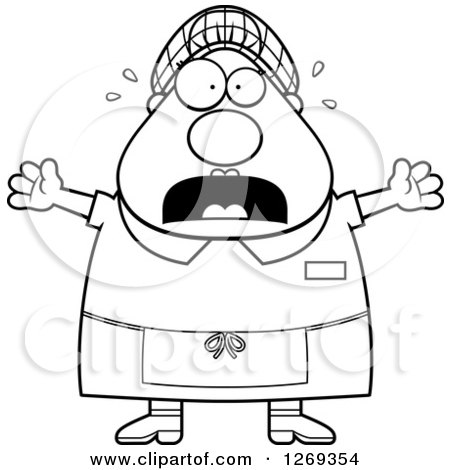 Clipart of a Black and White Cartoon Chubby Scared Screaming Lunch Lady - Royalty Free Vector Illustration by Cory Thoman