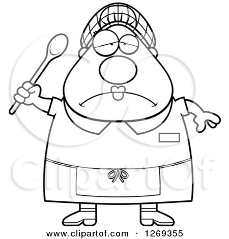 Clipart of a Black and White Cartoon Chubby Depressed Lunch Lady Holding a Spoon - Royalty Free Vector Illustration by Cory Thoman