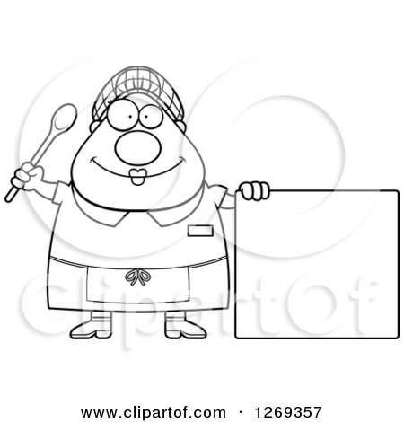 Clipart of a Black and White Cartoon Chubby Happy Lunch Lady by a Blank Sign - Royalty Free Vector Illustration by Cory Thoman
