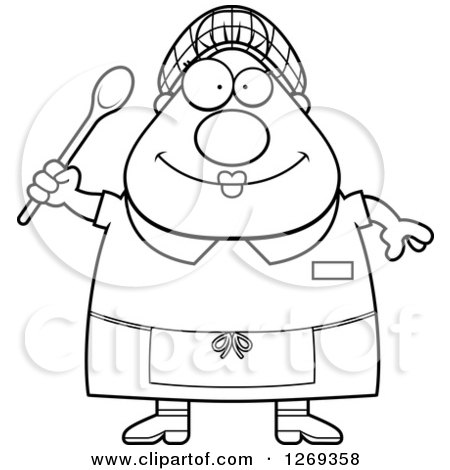 Clipart of a Black and White Cartoon Chubby Happy Lunch Lady - Royalty Free Vector Illustration by Cory Thoman