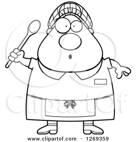 Clipart of a Black and White Cartoon Chubby Surprised Lunch Lady Holding a Spoon - Royalty Free Vector Illustration by Cory Thoman