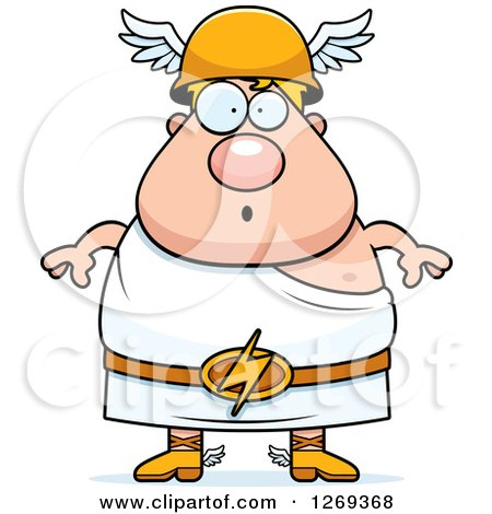 Clipart of a Cartoon Surprised Chubby Greek Olympian God Hermes - Royalty Free Vector Illustration by Cory Thoman