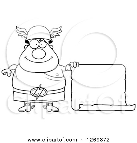 Clipart of a Black and White Cartoon Happy Chubby Greek Olympian God Hermes with a Scroll Sign - Royalty Free Vector Illustration by Cory Thoman