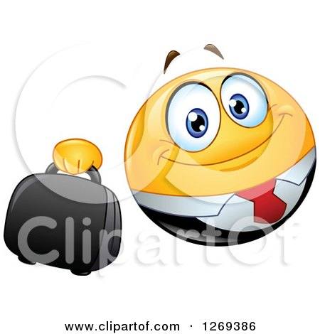 Clipart of a Happy Businessman Smiley Emoticon Holding out a Briefcase - Royalty Free Vector Illustration by yayayoyo