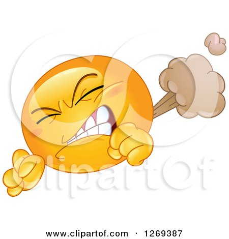 Clipart of a Farting Yellow Smiley Emoticon Clenching His Teeth and Letting It Rip - Royalty Free Vector Illustration by yayayoyo