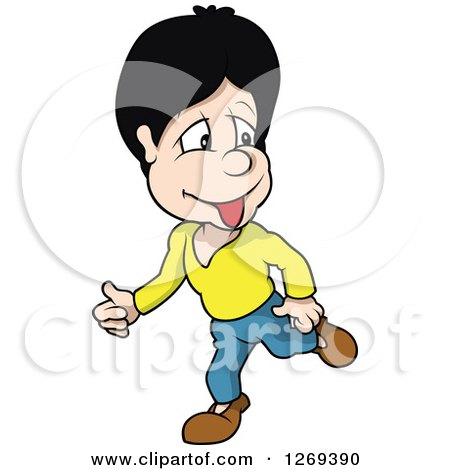 Clipart of a Cartoon Boy Walking - Royalty Free Vector Illustration by dero