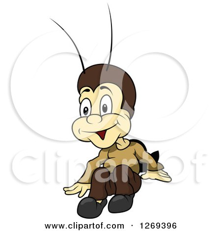 Clipart of a Cartoon Excited Cricket - Royalty Free Vector Illustration by dero