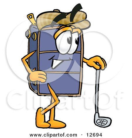Clipart Picture of a Suitcase Cartoon Character Leaning on a Golf Club While Golfing by Toons4Biz