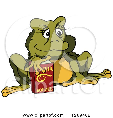 Clipart of a Cartoon Female Toad with a Book - Royalty Free Vector Illustration by dero