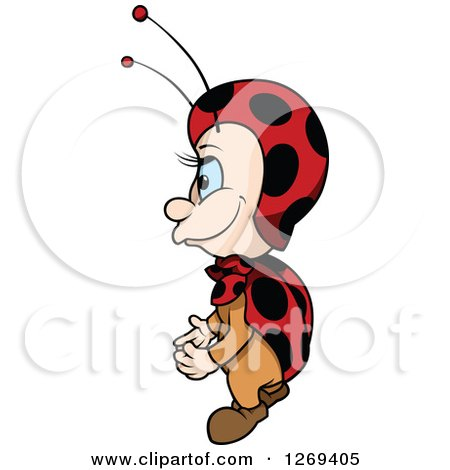 Clipart of a Cartoon Blue Eyed Ladybug Facing Left - Royalty Free Vector Illustration by dero