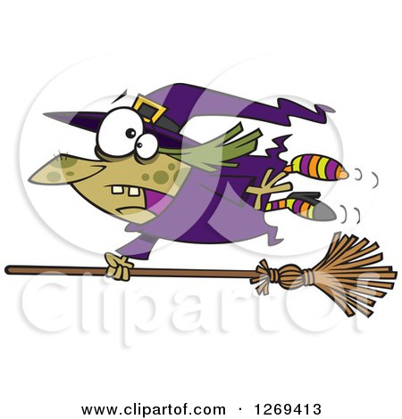 Clipart of a Cartoon Green Witch Hanging on to a Runaway Broom - Royalty Free Vector Illustration by toonaday