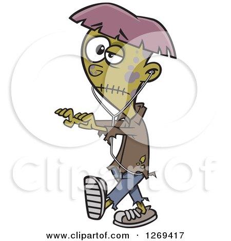 Cartoon Halloween Teen Zombie Boy Walking with Earbuds Posters, Art Prints