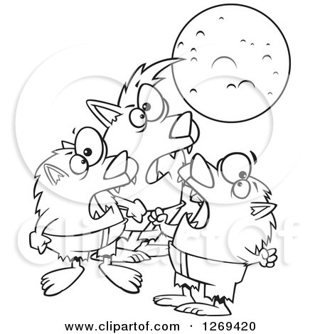 Clipart of a Black and White Cartoon Trio of Werewolves Howling at a Full Moon - Royalty Free Vector Line Art Illustration by toonaday