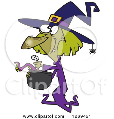 Clipart of a Cartoon Green Halloween Witch Making Soup - Royalty Free Vector Illustration by toonaday