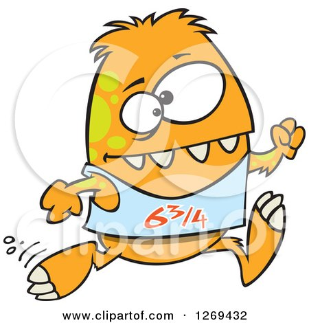 Clipart of a Cartoon Athletic Orange Monster Running a Marathon - Royalty Free Vector Illustration by toonaday