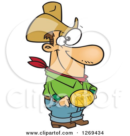 Clipart Of A Cartoon Caucasian Cowboy Man Showing His Bull Belt Buckle Royalty Free Vector Illustration