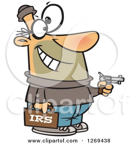 Clipart of a Cartoon Caucasian IRS Theft Man Holding a Gun - Royalty Free Vector Illustration by toonaday