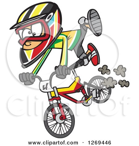 Clipart of a Cartoon Caucasian Little Boy Catching Air on a Bmx Bike - Royalty Free Vector Illustration by toonaday