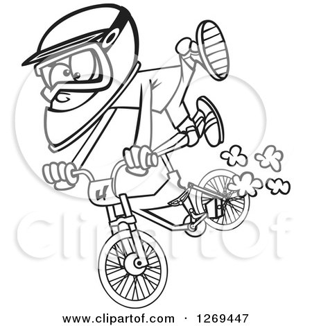 Clipart of a Black and White Cartoon Little Boy Catching Air on a Bmx Bike - Royalty Free Vector Line Art Illustration by toonaday