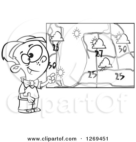 Royalty-Free (RF) Clip Art Illustration of a Cartoon Weather Girl Reading The Forecast ...