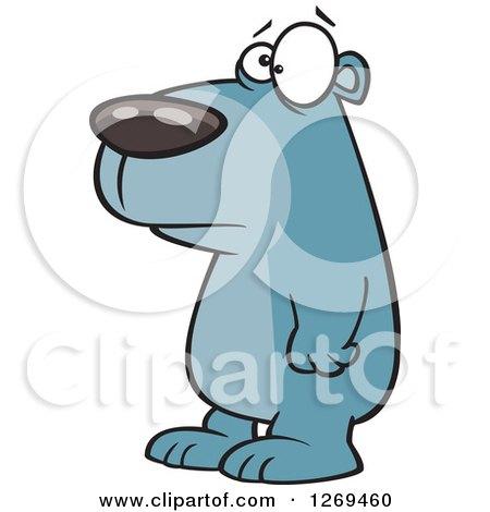 Clipart of a Cartoon Sad Blue Bear Facing Left - Royalty Free Vector Illustration by toonaday