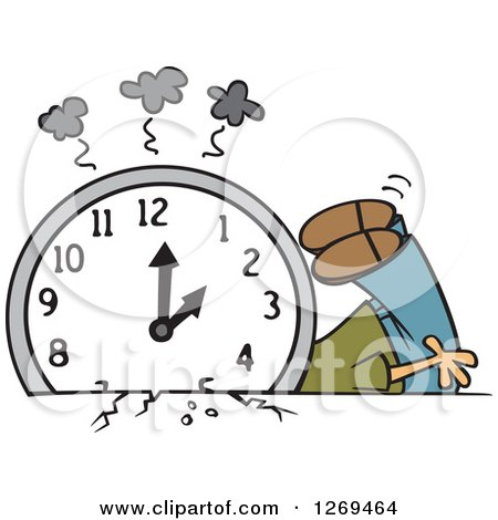 Clipart of a Cartoon Man Crushed Under a Fall Back Clock - Royalty Free Vector Illustration by toonaday