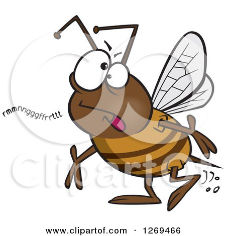 Clipart of a Cartoon Mumbling Bumble Bee - Royalty Free Vector Illustration by toonaday