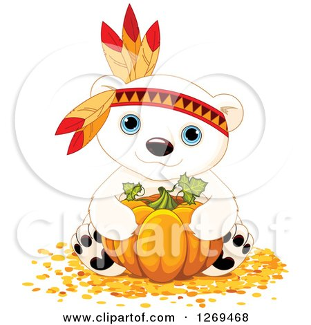 Clipart of a Cute Thanksgiving Polar Bear Hugging a Pumpkin and Wearing a Feather Head Band - Royalty Free Vector Illustration by Pushkin