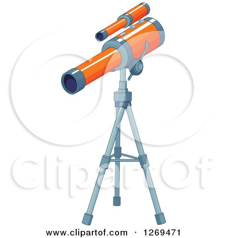 Clipart of an Orange Telescope on a Tripod - Royalty Free Vector Illustration by Pushkin