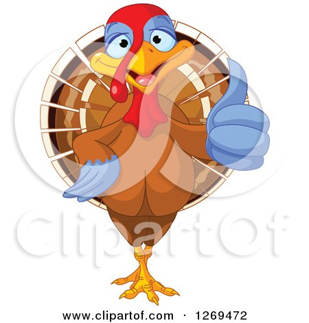Clipart of a Cute Thanksgiving Turkey Bird Giving a Thumb up - Royalty Free Vector Illustration by Pushkin
