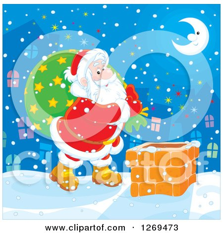 Clipart of Santa Claus Carrying a Sack and Walking on a Roof on a Snowy Christmas Eve Night - Royalty Free Vector Illustration by Alex Bannykh
