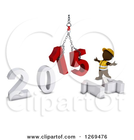 Clipart of a 3d Brown Man Construction Worker Directing a New Year 2015 Hoist - Royalty Free Illustration by KJ Pargeter