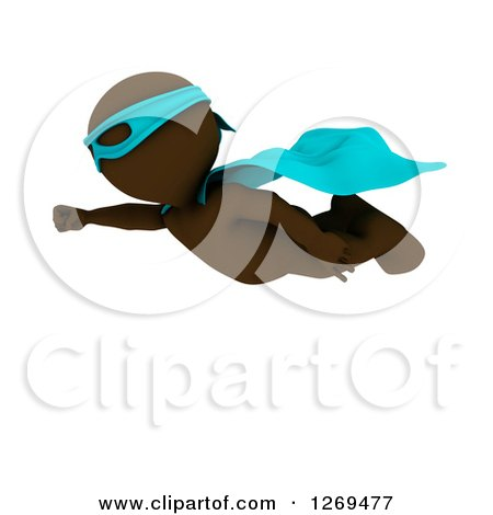 Clipart of a 3d Brown Man Super Hero Flying - Royalty Free Illustration by KJ Pargeter