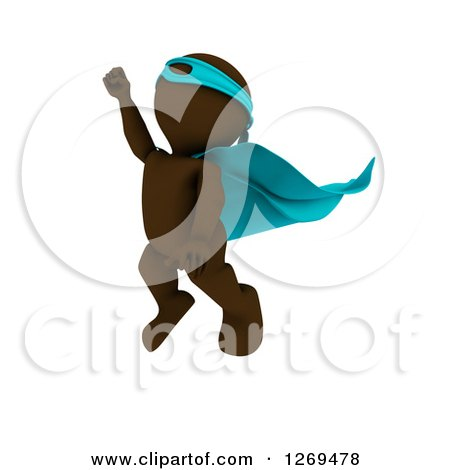 Clipart of a 3d Brown Man Super Hero Flying Upwards - Royalty Free Illustration by KJ Pargeter