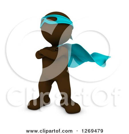 Clipart of a 3d Brown Man Super Hero - Royalty Free Illustration by KJ Pargeter