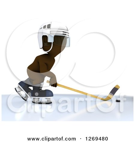 Clipart of a 3d White Man Sliding a Stick at a Hockey Puck - Royalty Free Illustration by KJ Pargeter