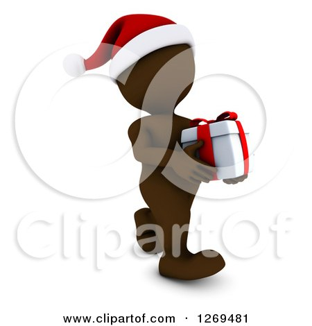 Clipart of a 3d Brown Man Wearing a Santa Hat and Carrying a Christmas Gift - Royalty Free Illustration by KJ Pargeter