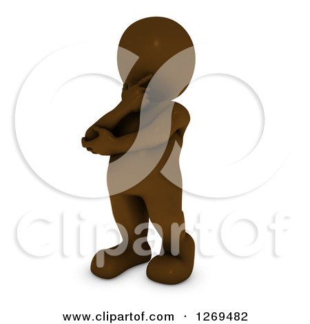 Clipart of a 3d Brown Man Rubbing His Chin and Thinking - Royalty Free Illustration by KJ Pargeter