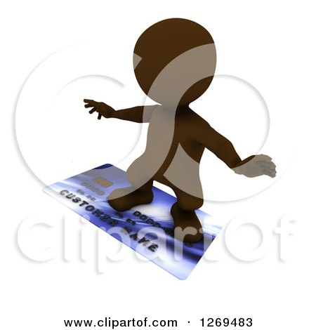 Clipart of a 3d Brown Man Surfing on a Giant Credit Card - Royalty Free Illustration by KJ Pargeter