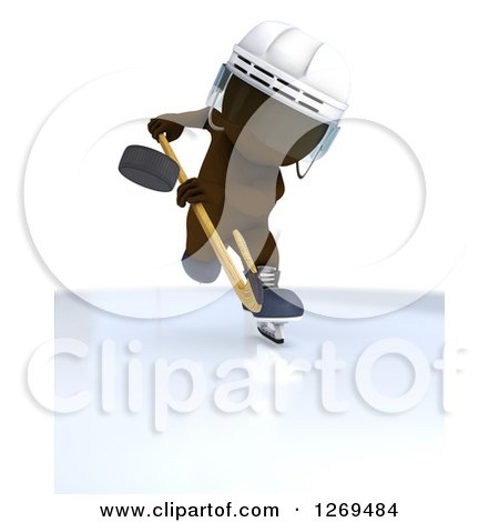 Clipart of a 3d White Man Whacking a Hockey Puck - Royalty Free Illustration by KJ Pargeter