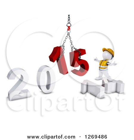 Clipart of a 3d White Man Construction Worker Directing a New Year 2015 Hoist - Royalty Free Illustration by KJ Pargeter