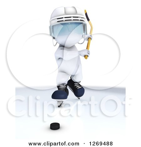 Clipart of a 3d White Man Swinging a Stick at a Hockey Puck - Royalty Free Illustration by KJ Pargeter
