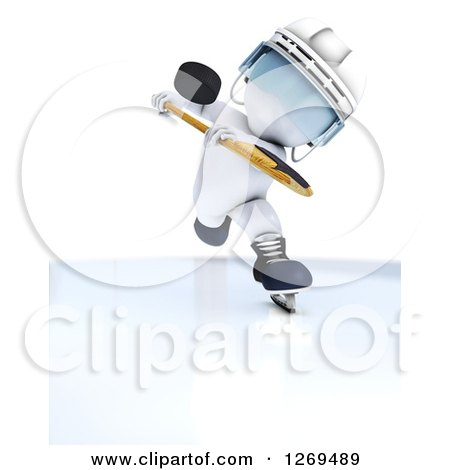 Clipart of a 3d White Man with a Hockey Puck in the Air - Royalty Free Illustration by KJ Pargeter