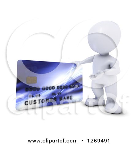 Clipart of a 3d White Man Presenting a Giant Credit Card - Royalty Free Illustration by KJ Pargeter