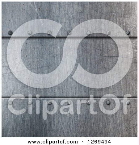 Clipart of a 3d Scratched Metal Background with Screws - Royalty Free Illustration by KJ Pargeter